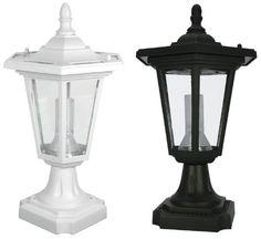 Solar 'Coach' Lantern Pillar / Column / Pedestal Light – Black by S… - Modern Driveway Entrance, House Entrance, Porch Lighting, Outdoor Lighting, Column Lights, Coach Lights, Mailbox Landscaping, Stone Pillars, Pergola Attached To House