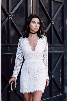 Dressy Summer Outfit Idea: Little White Lace dress & black clutch Lace Dress Black, White Dress, White Lace, Black White, Mini Wedding Dresses, Estilo Blogger, Short Dresses, Summer Dresses, Summer Outfit