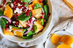 Persimmon Salad Persimmon Recipes, Baby Spinach, Salad Ingredients, Goat Cheese, Cobb Salad, Feta, Salad Recipes, Side Dishes, Salads