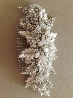 Shop Unique Bridal headpieces, Bridal hair comb - Style Zulu * Clear swarovski stones * Color - Silver over all * Work done on fabric * Length of the beading section ranges from 4 to 5 inches. Width i
