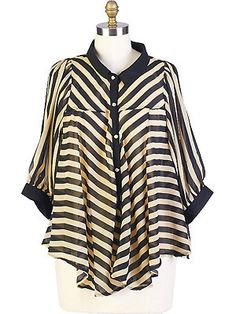 J'adore this plus-sized striped flare shirt. Up to 3X.