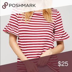 Red Stripe shirt Brand New Boutique style top with bell sleeves. Loose fit. Fabric: Rayon/Spandex Tops