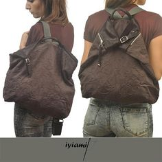 MYKONOSis a fresh,stylish,medium sized backpack made here in a sturdy Italian cotton patterned fabric ,in grey combined with a soft ,dark brown calf skin. Safety is guaranteed by the way bag opens(zipper on back side). Leaving freely the decorative buckle untied,bag becomes almost