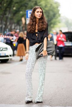 Street Style Black Blouse and Pants