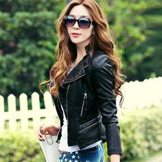 Leather jacket women 2016 new fashion leather coat women short slim motorcycle leather clothing female outerwear black