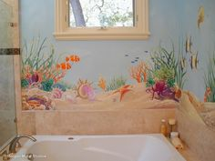 Ocean Floor Bathroom Mural - Close-up