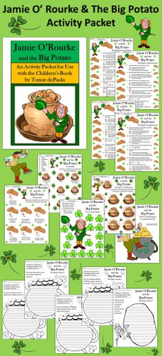 Jamie O'Rourke and the Big Potato Activity Packet: St. Patrick's Day activity packet complementing the children's book by Tomie DePaola.  Contents Include: * Reading Comprehension Quiz * Vocabulary Worksheet * Sequencing Worksheet * Long O Vowel Sounds Worksheet * |k| Sound Spelled with a ch as in Leprechaun Worksheet * Five Writing Activities * Three Coloring Sheets * Pot O' Gold Potatoes Construction Craft * Answer Keys  #St. #Patrick's #Day #Reading #Worksheets #Language #Arts…