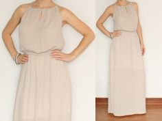 Long beige dress Chiffon Maxi Dress Bridesmaid for by KSclothing, $39.00