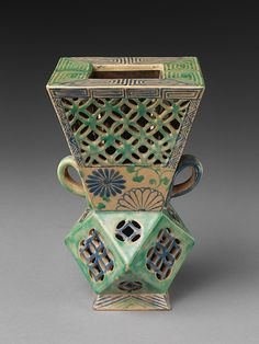 Vessel with openwork design  Japan  Edo period (1615–1868)  18th century Stoneware with polychrome enamels The Met