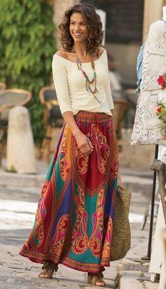 Raika Skirt from Soft Surroundings skirt Raika Skirt Maxi Skirt Outfits, Long Maxi Skirts, Chic Outfits, Fashion Outfits, Bohemian Skirt, Bohemian Style, Look Boho, Long Skirts For Women, Looks Style