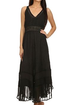 Sakkas 15226  Jammeh Stonewashed Embroidery Rayon Adjustable Spaghetti Straps Dress  Black  LXL ** Click image for more details.