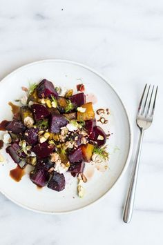 roasted fennel and beet salad with pistachios + feta (vegetarian)   superman cooks