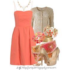 """Coral Dress"" by uniqueimage on Polyvore"