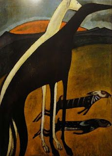 Os galgos - Amadeo de Souza Cardoso hand-painted oil painting reproduction,animals on hills sunrise, Greyhound Kunst, Oil Canvas, Grand Art, Art Prints For Sale, Art Database, Oil Painting Reproductions, Oeuvre D'art, Dog Art, Modern Art
