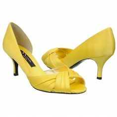 I know these aren't the cutest....but they're the prettiest yellow and smallest heeled shoes Ive found so far....Nina Women's Culver Shoe