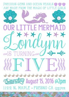 Mermaid Theme Birthday Party Invitation Invitations Invite Under the Sea The Little Mermaid Pearls Glitter Mermaids Purple Glitter Turquoise Aqua Teal Mint Lavender
