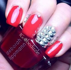 Pinkish nails with gems