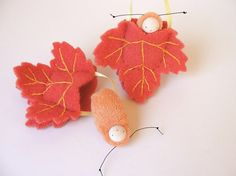 Leaf ornament pocket doll caterpillar waldorf decor advent calendar