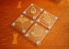 Fused Glass Coasters Handmade Coasters Leaf by rosepetalsjewelry
