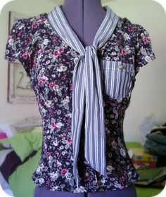 this site is all about altering clothes,cute idea but I think i'd use a solid fabric for the neck and pocket