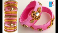 How to make Unique Earring Model Designer Silk Thread Bridal Bangles set tutorial Kundan Bangles, Silk Bangles, Bridal Bangles, Silk Thread Bangles Design, Silk Thread Necklace, Thread Jewellery, Bangles Making, Paper Earrings, Bangle Set