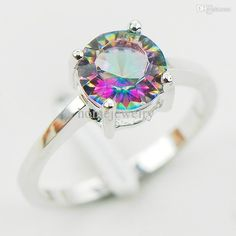 Simple Engagement Rings Wholesale Concave Cut Rainbow Mystic Topaz ...