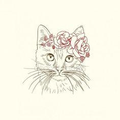 Descargar - Pluma y tinta ilustración del gato en diadema flores — Ilustración de stock #27506375