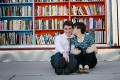 Secondhand bookstore engagements - Salt Lake City Engagement Photos