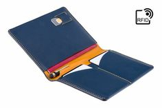 42c1a2615885 Luxury RFID Leather Passport Holder   Travel wallet - Blue Yellow - A-SLIM  - Hoshi - Passport Cover - Passport Wallet - Case for Passport