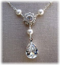 New Swarovski Pearls and Rhinestone Pear by HisJewelsCreations, $48.00