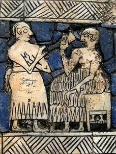 A Sumerian king (right) has a drink while being attended by a servant. The king is holding a fly whisk, a symbol of authority. The servant holds his hand under his armpit as a gesture of obedience. Detail from a lyre inlay, partially restored.