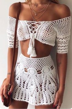 Excited to share this item from my shop: Crochet Boho Top and Skirt, Beachwear, Festival Clothing . # crochet fashion Crochet Boho Top and Skirt, Beachwear, Festival Clothing . Crochet Skirts, Crochet Clothes, Diy Clothes, Crochet Outfits, Crochet Skirt Outfit, Crochet Blouse, Crochet Tops, Barbie Clothes, Crochet Lace