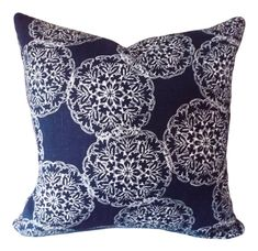 This John Robshaw Indigo Suzani Danda Decorative Pillow Cover is a Stunning Modern Throw Pillow, that Showcases the ..DANDA INDIGO.. Wood Block