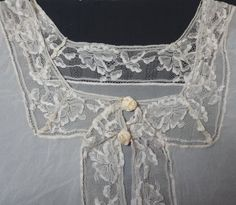 1930s or 1920s Lace Trimmed Lingerie or Bed Jacket with Satin Rose Covered Snaps, Fabulous Needlework on Net Lace Trim, Tucks, Size Large by VictorianWardrobe on Etsy