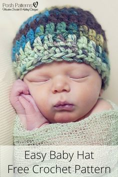 Free Crochet Hat Pattern - Get this cute baby hat crochet pattern for FREE when you sign up for Posh Patterns updates!