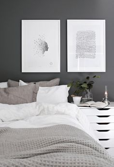 Scandinavian Bedroom Design Scandinavian style is one of the most popular styles of interior design. Although it will work in any room, especially well . Decoration Bedroom, Decor Room, Home Decor Bedroom, Diy Home Decor, Wall Decor, Gray Bedroom, Bedroom Wall, Master Bedroom, Modern Bedroom