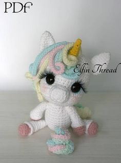 A Magical Unicorn is descending from the clouds in a rainbow slide directly to you... will you take her with you? This is a crochet pattern to make this beautiful Chibi Unicorn and includes another to crochet her Magical Poo! Details: The finished doll size is about 10 (26 cm) standing.
