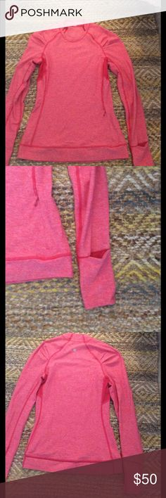 Pink lululemon long sleeve/pullover Heathery pink lulu long sleeve/pull over. Thumb holes on sleeves, zipper pocket on front. Ruched detailing on shoulders. Perfect condition, is comfy and warm, also good for layering lululemon athletica Tops Sweatshirts & Hoodies