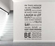 We Are Family Living Room Home Decorations Quote Wall Decals House Rules Diy Removable Vinyl Wall Stickers *** Startling review available here  : home diy wall