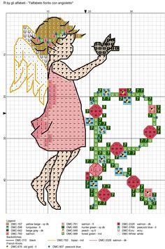 alfabeto fiorito con angioletto R