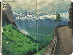 Chandler O'Leary, The sheer drop off a hairpin curve on the Going-to-the-Sun Road, Glacier National Park. Moleskine Sketchbook, Watercolor Sketchbook, Watercolor Art, Illustrations, Illustration Art, Art Journal Pages, Art Journals, Travel Journals, Project Life Scrapbook