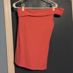 Coral, one-shoulder Bra Top One-shoulder Bra Top purchased from the Victoria's Secret catalog. Worn once. Fits bra size 34C/ 34D. Looks great with khaki shorts, jeans, or a denim skirt. Bra built-in. Bra Tops Tops Tees - Short Sleeve