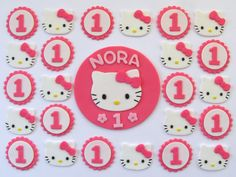 Fondant Cake, Cupcake Toppers - Hello Kitty Inspired Party Pack