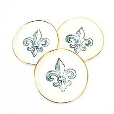 Fleur De Lis Ring Dish ($32) ❤ liked on Polyvore featuring home, kitchen & dining, serveware, bowls, dining & serving, home & living, light yellow, serving bowl, round bowl and low bowl