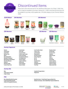 Scentsy Discontinued List for Fall Winter 2016