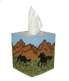 Free Plastic Canvas Tissue Box Patterns | Wild Mustang Tissue Box Cover Plastic Canvas by RainbowPonyDesigns