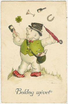 Snowman, New Year, Mushrrom, Juggler Snowman in Mushroom Shoes, Funny Old Pc. #Christmas