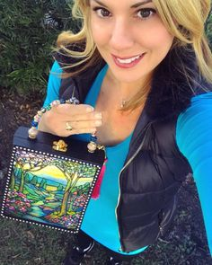 """The """"Tiffany Mountain Stream"""" Clutch — Darling Clutch Company Products - Darling Clutch Company Cigar Box Purse, Altered Cigar Boxes, Glass Artwork, Blue Velvet, Tiffany, Art Pieces, Mountain, Diy Crafts, Purses"""