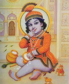 Makhan Chor Krishna - Reprints of Miniature Paintings (Reprint on Paper - Unframed) Krishna Lila, Krishna Hindu, Cute Krishna, Radha Krishna Photo, Krishna Radha, Krishna Photos, Shiva Shakti, Krishna Pictures, Durga