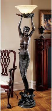 The Goddess' Offering Mermaid Sculptural Floor Lamp